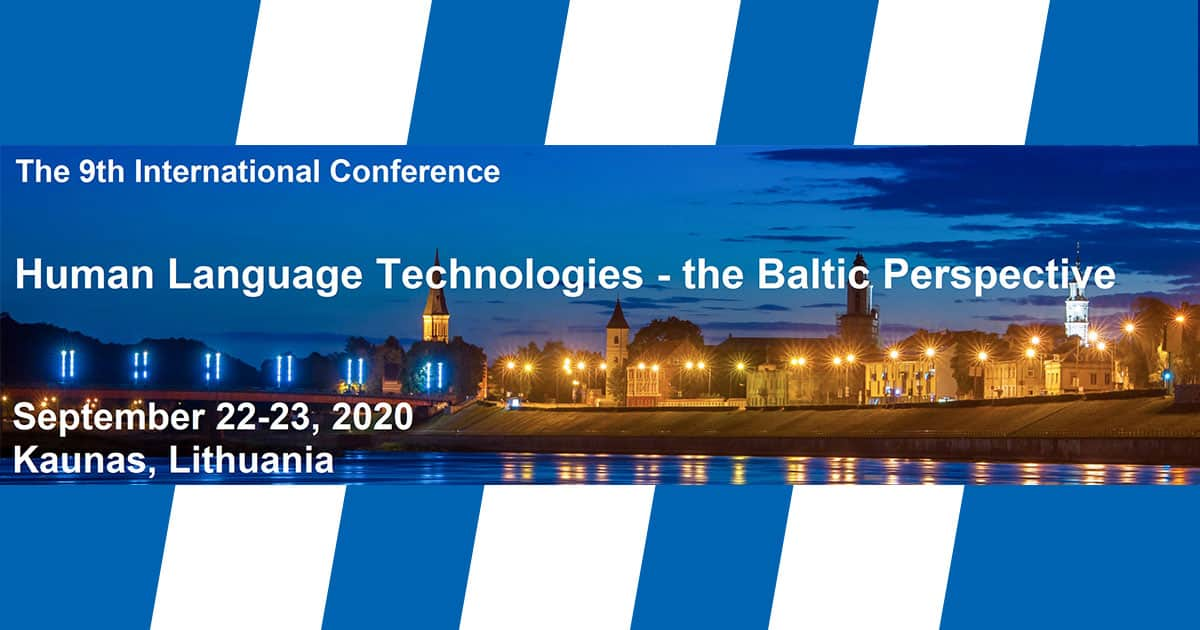Human Language Technologies - the Baltic perspective, September 22-23 2020, Kaunas, Lithuania